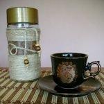 Декорирование кофейной баночки бечевкой