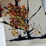 Осенняя аппликация из измельченных листьев