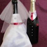 Атласные наряды на свадебное шампанское (МК)