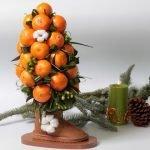 Новогоднее дерево из мандаринов в валенке
