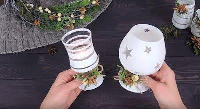 декор новогодний, декор рождественский, зубная паста, подсвечник из бокала, подсвечник стеклянный, подсвечники, декор для дома, декор праздничный, декор своими руками, подсвечник своими руками, Новый год, Рождество, оформление новогоднее, для интерьера, оформление рождественское,
