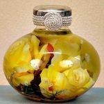 Консервированный букет (декоративная бутылка своими руками)