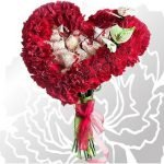 Букет-сердце из гвоздик и конфет (МК)