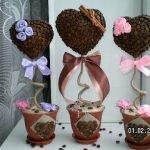 Топиарий-валентинка: кофейное деревце в форме сердца. МК