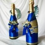 Декор бутылки шампанского лентами - МК