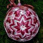 Оформление ёлочных шаров лентами - МК и идеи